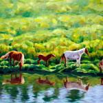 Horses next to the river