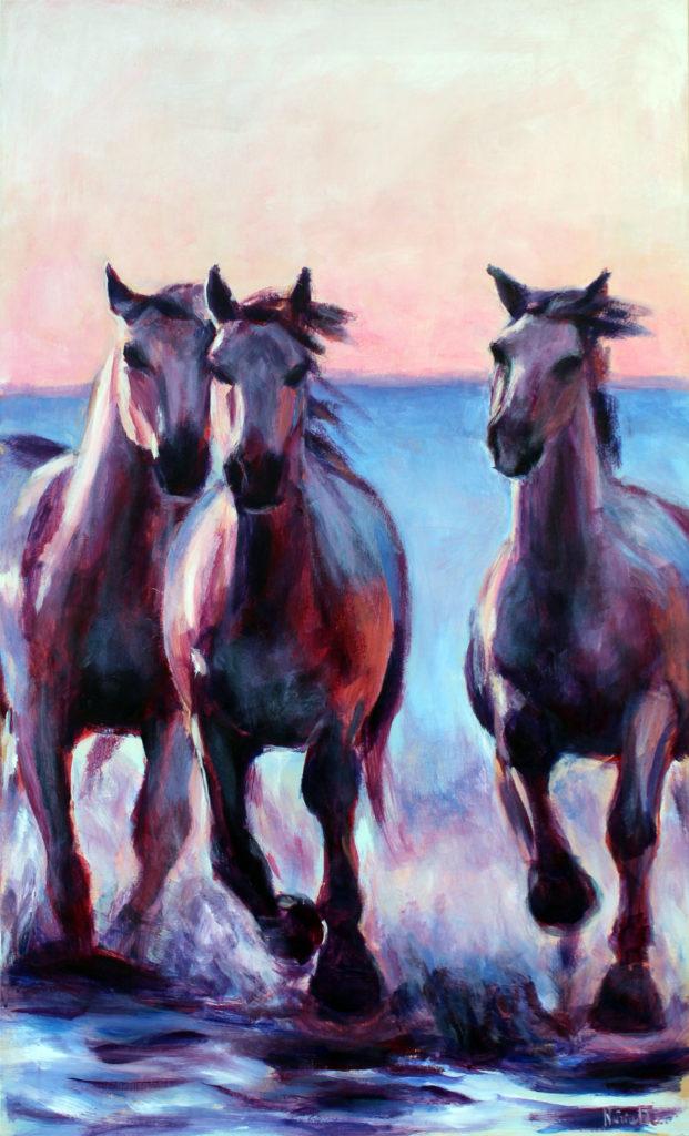 cuadro caballos de agua
